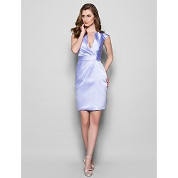 Sheath Column Plus Sizes Petite Mother Of The Bride Dress Lavender Knee Length Sleeveless Satin