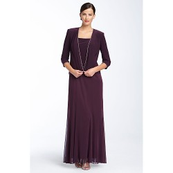 Sheath/Column Mother of the Bride Dress - Burgundy Ankle-length Chiffon