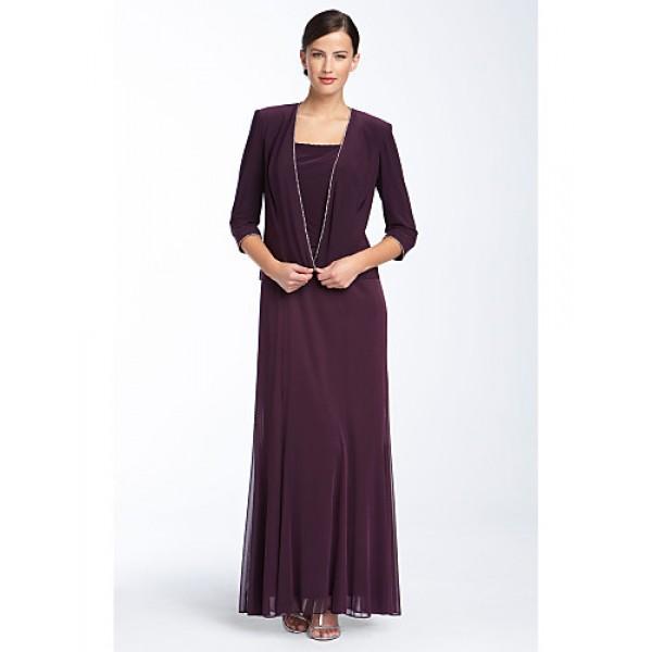 Sheath/Column Mother of the Bride Dress - Burgundy Ankle-length Chiffon Mother Of The Bride Dresses