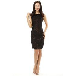 Sheath Column Mother Of The Bride Dress Black Knee Length Lace