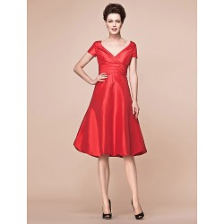 A Line Plus Sizes Petite Mother Of The Bride Dress Ruby Knee Length Short Sleeve Taffeta