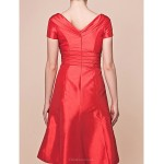 A-line Plus Sizes / Petite Mother of the Bride Dress - Ruby Knee-length Short Sleeve Taffeta Mother Of The Bride Dresses