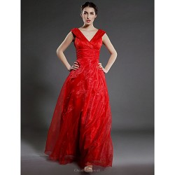 A Line Plus Sizes Petite Mother Of The Bride Dress Ruby Floor Length Sleeveless Organza