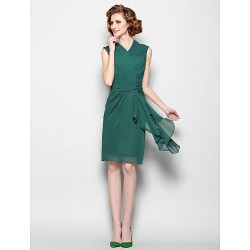 Sheath Column Plus Sizes Petite Mother Of The Bride Dress Dark Green Knee Length Sleeveless Chiffon