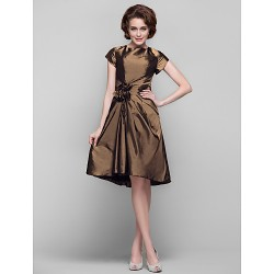 Dress - Brown Plus Sizes / Petite Sheath/Column Jewel Knee-length Taffeta