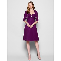 A Line Plus Sizes Petite Mother Of The Bride Dress Grape Knee Length 3 4 Length Sleeve Chiffon