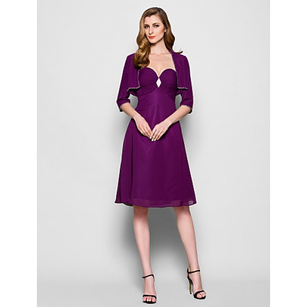 A-line Plus Sizes / Petite Mother of the Bride Dress - Grape Knee-length 3/4 Length Sleeve Chiffon Mother Of The Bride Dresses