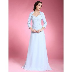 A Line Plus Sizes Petite Mother Of The Bride Dress Sky Blue Floor Length 3 4 Length Sleeve Chiffon