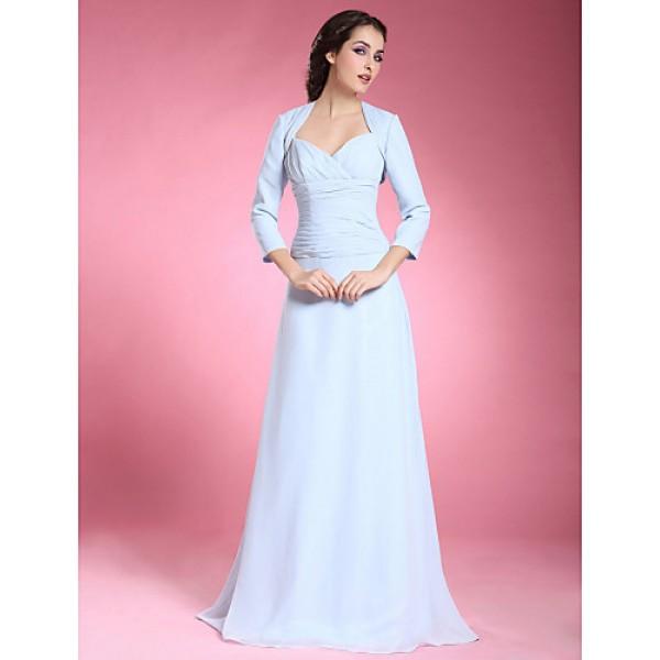 A-line Plus Sizes / Petite Mother of the Bride Dress - Sky Blue Floor-length 3/4 Length Sleeve Chiffon Mother Of The Bride Dresses