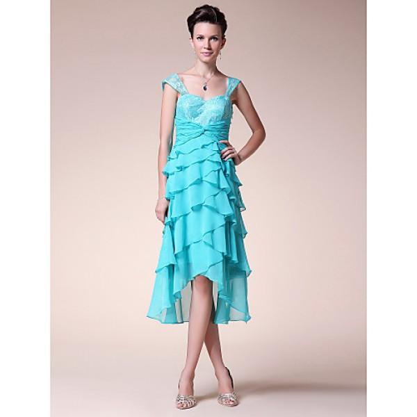 A-line Plus Sizes / Petite Mother of the Bride Dress - Pool Tea-length / Asymmetrical Sleeveless Chiffon / Lace Mother Of The Bride Dresses