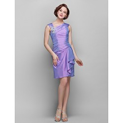 Sheath Column Plus Sizes Petite Mother Of The Bride Dress Lilac Knee Length Sleeveless Taffeta