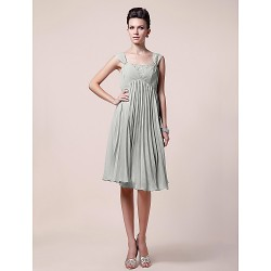 A-line Plus Sizes / Petite Mother of the Bride Dress - Silver Knee-length Sleeveless Chiffon