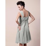 A-line Plus Sizes / Petite Mother of the Bride Dress - Silver Knee-length Sleeveless Chiffon Mother Of The Bride Dresses
