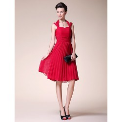 A Line Plus Sizes Petite Mother Of The Bride Dress Ruby Knee Length Sleeveless Chiffon