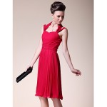 A-line Plus Sizes / Petite Mother of the Bride Dress - Ruby Knee-length Sleeveless Chiffon Mother Of The Bride Dresses