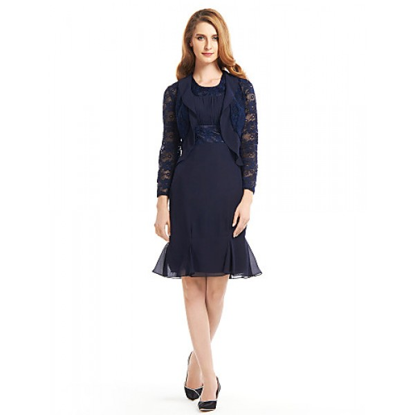 Trumpet/Mermaid Mother of the Bride Dress - Dark Navy Knee-length Long Sleeve Chiffon / Lace Mother Of The Bride Dresses