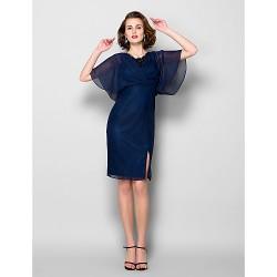 Sheath/Column Plus Sizes / Petite Mother of the Bride Dress - Dark Navy Knee-length Half Sleeve Chiffon / Lace