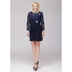 A-line Mother of the Bride Dress - Dark Navy Short/Mini Chiffon / Lace