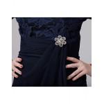 A-line Mother of the Bride Dress - Dark Navy Short/Mini Chiffon / Lace Mother Of The Bride Dresses