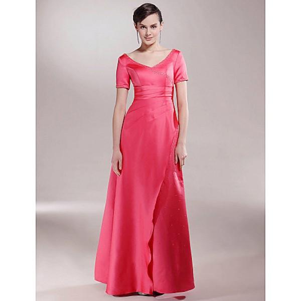 A-line Plus Sizes / Petite Mother of the Bride Dress - Watermelon Floor-length Short Sleeve Satin Mother Of The Bride Dresses