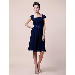 A Line Plus Sizes Petite Mother Of The Bride Dress Dark Navy Knee Length Short Sleeve Chiffon