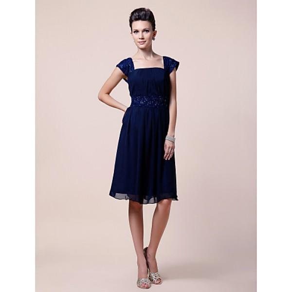 A-line Plus Sizes / Petite Mother of the Bride Dress - Dark Navy Knee-length Short Sleeve Chiffon Mother Of The Bride Dresses