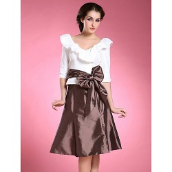 A Line Plus Sizes Petite Mother Of The Bride Dress Multi Color Knee Length Half Sleeve Taffeta