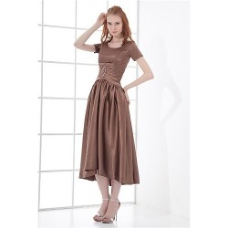 Formal Evening Dress - As Picture Plus Sizes / Petite A-line Jewel Tea-length Taffeta