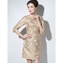 Sheath Column Mother Of The Bride Dress Pearl Pink Champagne Short Mini 3 4 Length Sleeve Polyester