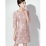 Sheath/Column Mother of the Bride Dress - Pearl Pink / Champagne Short/Mini 3/4 Length Sleeve Polyester Mother Of The Bride Dresses
