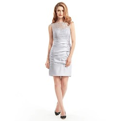 Sheath/Column Mother of the Bride Dress - Silver Short/Mini Sleeveless Lace / Satin