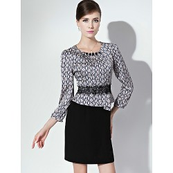 Sheath Column Mother Of The Bride Dress Print Short Mini 3 4 Length Sleeve Polyester