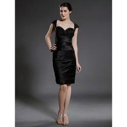 Sheath Column Plus Sizes Petite Mother Of The Bride Dress Black Knee Length Sleeveless Satin