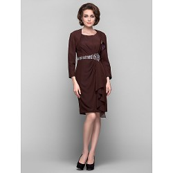 Dress Chocolate Plus Sizes Petite Sheath Column Scoop Knee Length Chiffon
