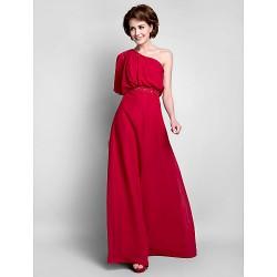 Sheath/Column Plus Sizes / Petite Mother of the Bride Dress - Burgundy Floor-length Half Sleeve Chiffon
