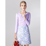 Sheath/Column Mother of the Bride Dress - Print Short/Mini Long Sleeve Polyester Mother Of The Bride Dresses