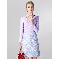 Sheath Column Mother Of The Bride Dress Print Short Mini Long Sleeve Polyester