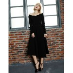 A-line Mother of the Bride Dress - Black Tea-length Long Sleeve Jersey Mother Of The Bride Dresses