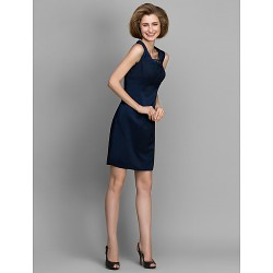 Sheath Column Mother Of The Bride Dress Dark Navy Knee Length Sleeveless Satin