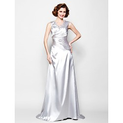 A-line Plus Sizes / Petite Mother of the Bride Dress - Silver Sweep/Brush Train Sleeveless Stretch Satin