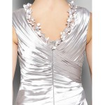 A-line Plus Sizes / Petite Mother of the Bride Dress - Silver Sweep/Brush Train Sleeveless Stretch Satin Mother Of The Bride Dresses