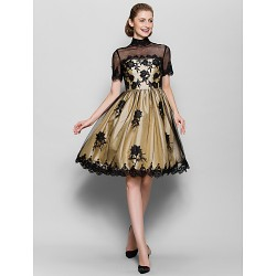 A Line Mother Of The Bride Dress Black Knee Length Short Sleeve Tulle