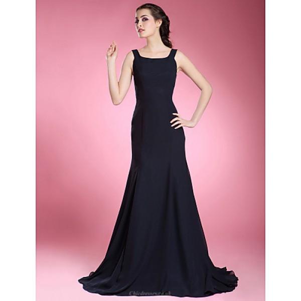 Trumpet/Mermaid Plus Sizes / Petite Mother of the Bride Dress - Dark Navy Sweep/Brush Train Sleeveless Chiffon Mother Of The Bride Dresses