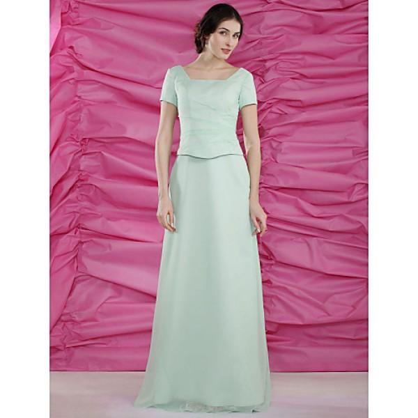 Sheath/Column Plus Sizes / Petite Mother of the Bride Dress - Sage Floor-length Short Sleeve Chiffon / Satin Mother Of The Bride Dresses