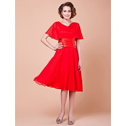 A Line Plus Sizes Petite Mother Of The Bride Dress Ruby Knee Length Short Sleeve Chiffon