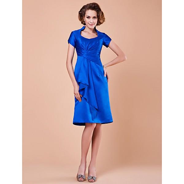 A-line Plus Sizes / Petite Mother of the Bride Dress - Royal Blue Knee-length Short Sleeve Satin Mother Of The Bride Dresses