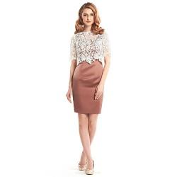 Sheath/Column Mother of the Bride Dress - Brown / Ivory Short/Mini Half Sleeve Lace / Satin