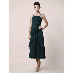 A Line Plus Sizes Petite Mother Of The Bride Dress Dark Green Tea Length Sleeveless Chiffon