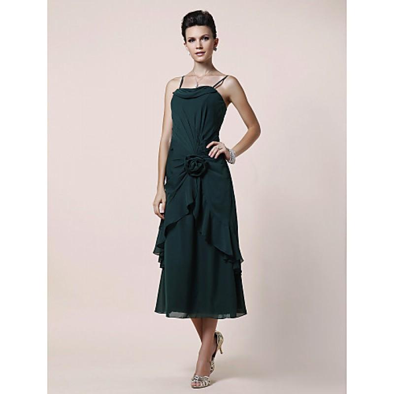 Dark Green Mother of Bride Dress Tea Length