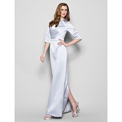 Sheath/Column Plus Sizes / Petite Mother of the Bride Dress - Silver Floor-length 3/4 Length Sleeve Satin